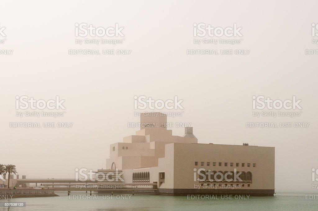 Museum of Islamic Art (MIA) in a sandstorm, Doha, Qatar; stock photo