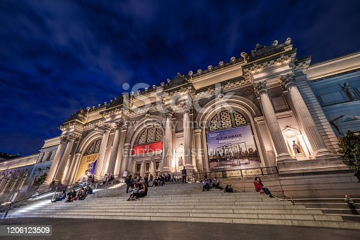 Night view of the Museum of Modern Art, a popular travel destination on 5th Avenue on October 12, 2019 in New York