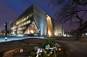 Warsaw, Poland - December 04, 2014: Museum of the History of Polish Jews, designed by Finnish architect Rainer Mahlamaki built in years 2009-2013.