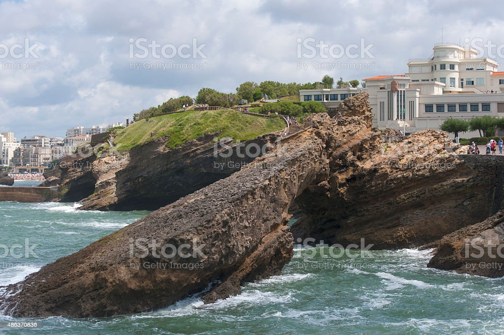 Museum of the Ocean on the rocks. stock photo