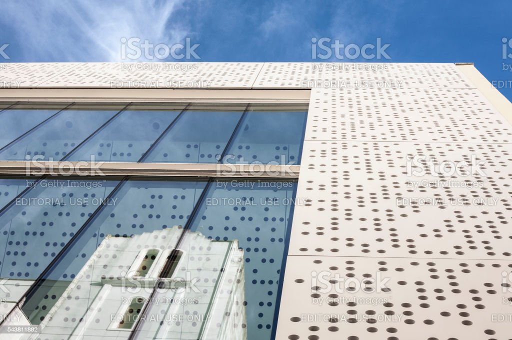MUBA Museum, prestressed cement and perforated white stock photo