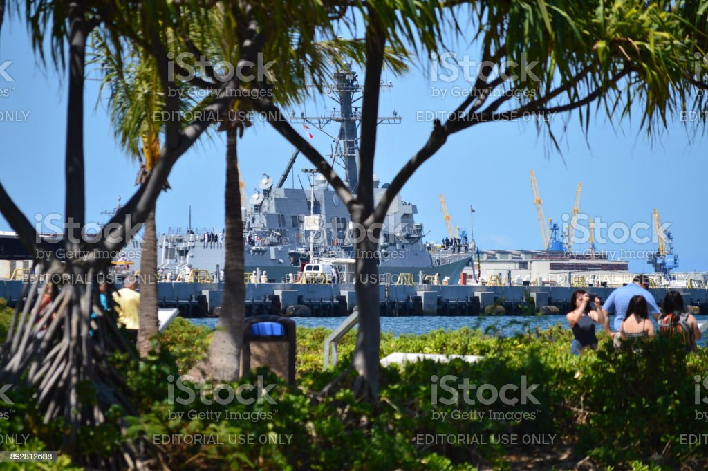 Museum Ship USS Missouri. Pearl Harbon. stock photo