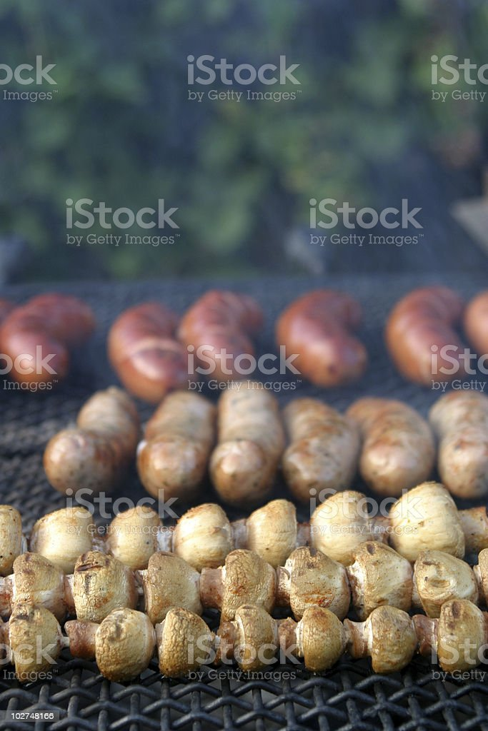 Mushroom and sausage barbecue royalty-free stock photo