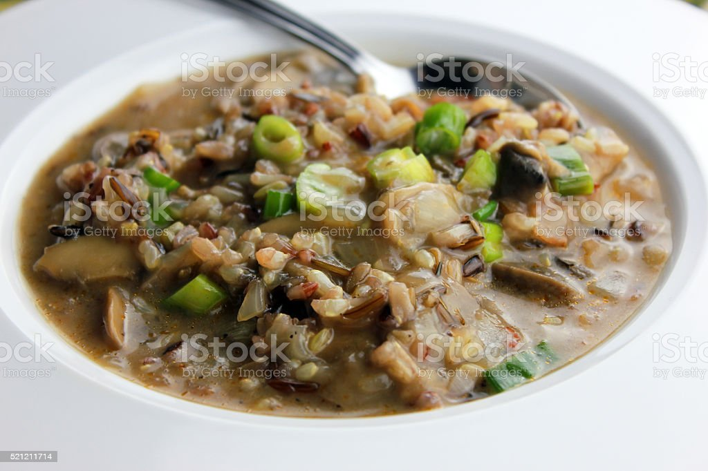 Mushroom and Wild Rice Soup stock photo