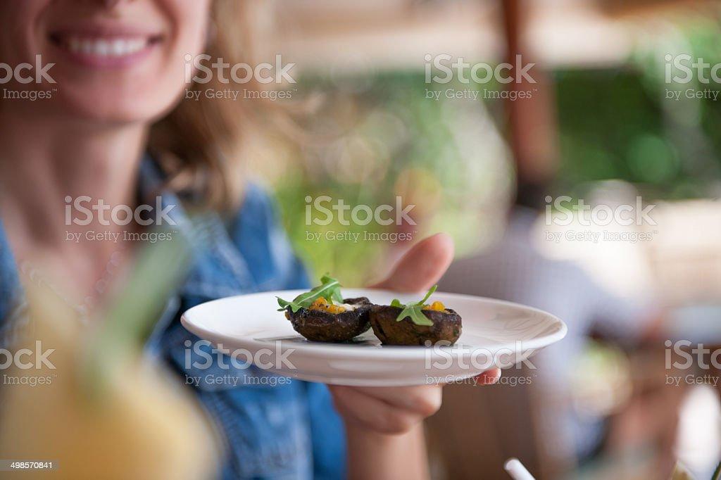 Mushroom appetizer stock photo