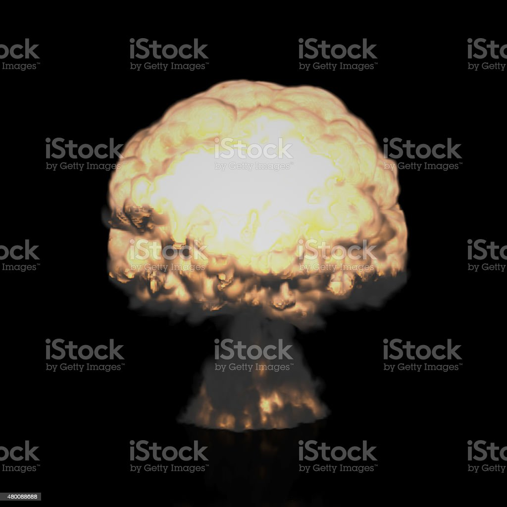 Mushroom Cloud of Nuclear Explosion (Isolated on Black) stock photo