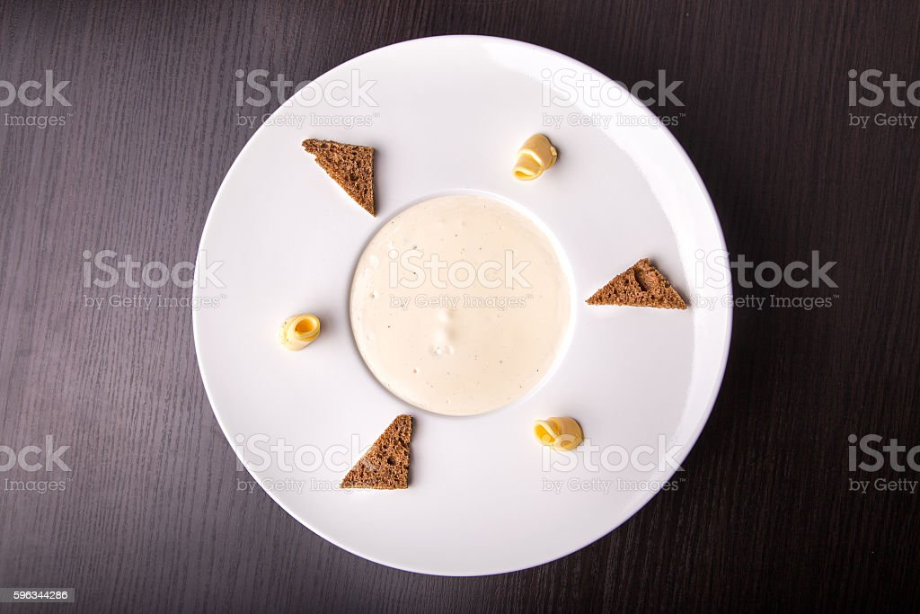 Mushroom cream soup, top view royalty-free stock photo