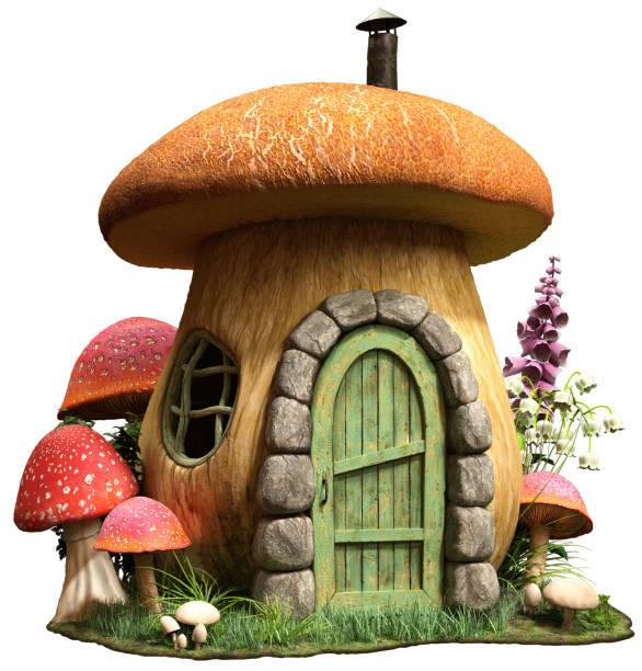 pilzhaus 3d-illustration - fee stock-fotos und bilder