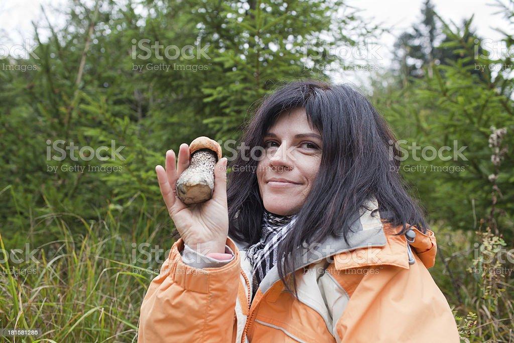 Mushroom in hand royalty-free stock photo