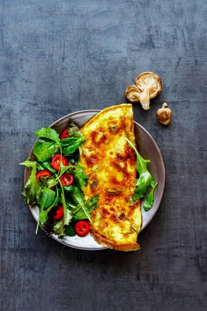 Mushroom omelette and salad stock photo