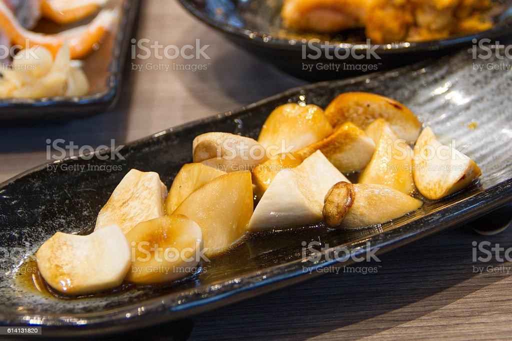 Mushroom Origin Japanese Sauce Fried stock photo