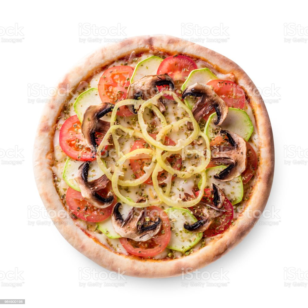 Mushroom pizza vegetarian on white background isolated royalty-free stock photo