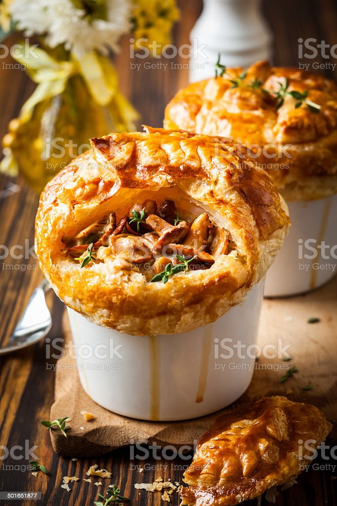 Mushroom Pot Pie stock photo