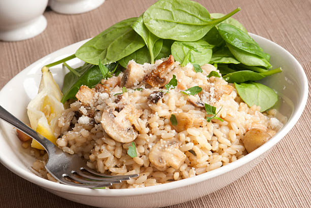 Mushroom risotto stock photo