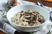Mushroom Risotto served in a bowl, selective focus