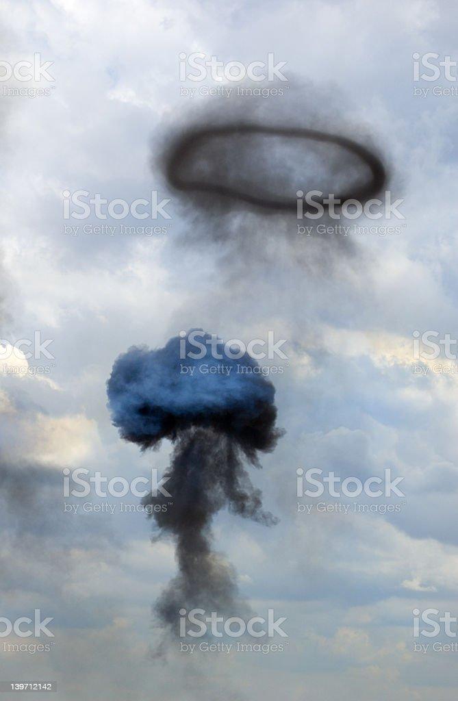 Mushroom Shaped Cloud and Smoke Ring royalty-free stock photo