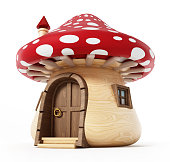 Mushroom shaped cute little home isolated on white background