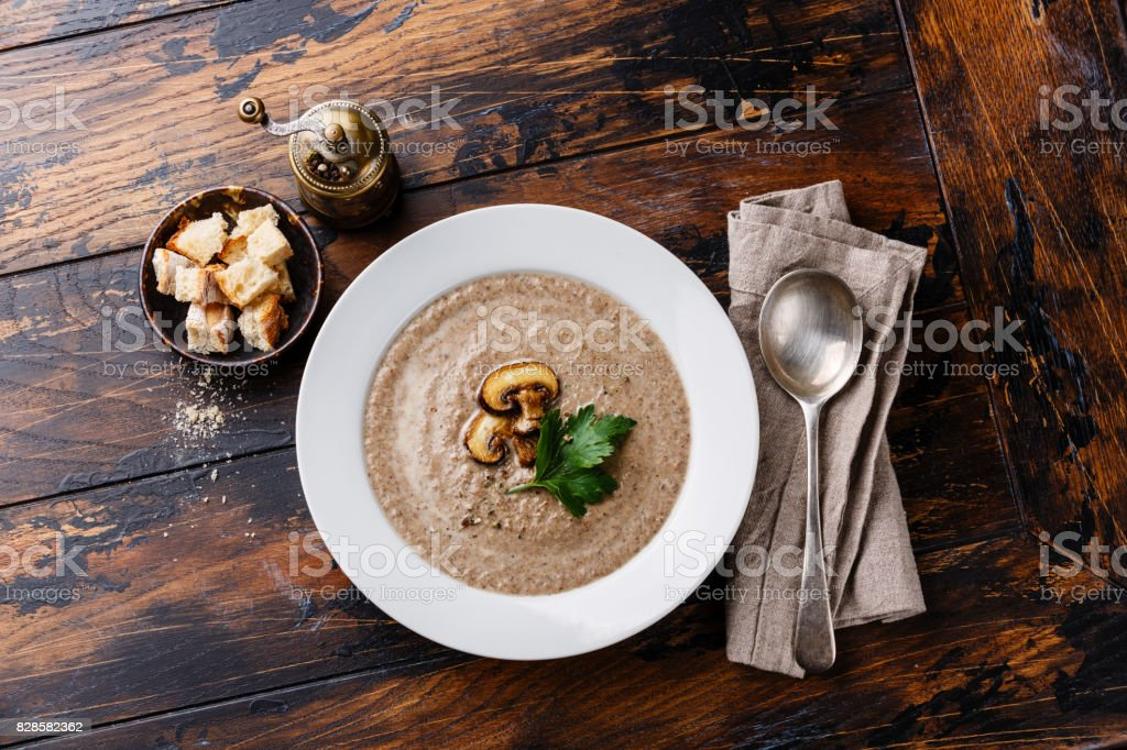 Mushroom soup with brown champignon stock photo