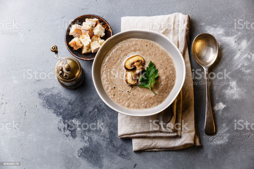 Mushroom soup with crouton stock photo