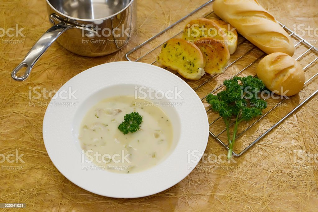 mushroom soup with garlic bread stock photo