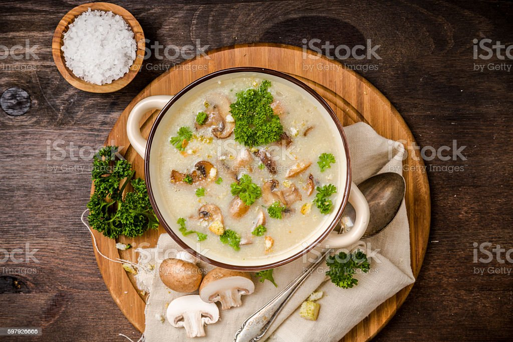Mushroom soup with parsley stock photo