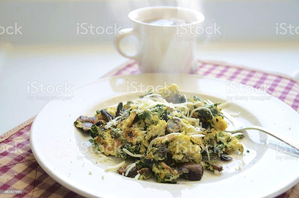 Mushroom Spinach Egg Breakfast Scramble stock photo