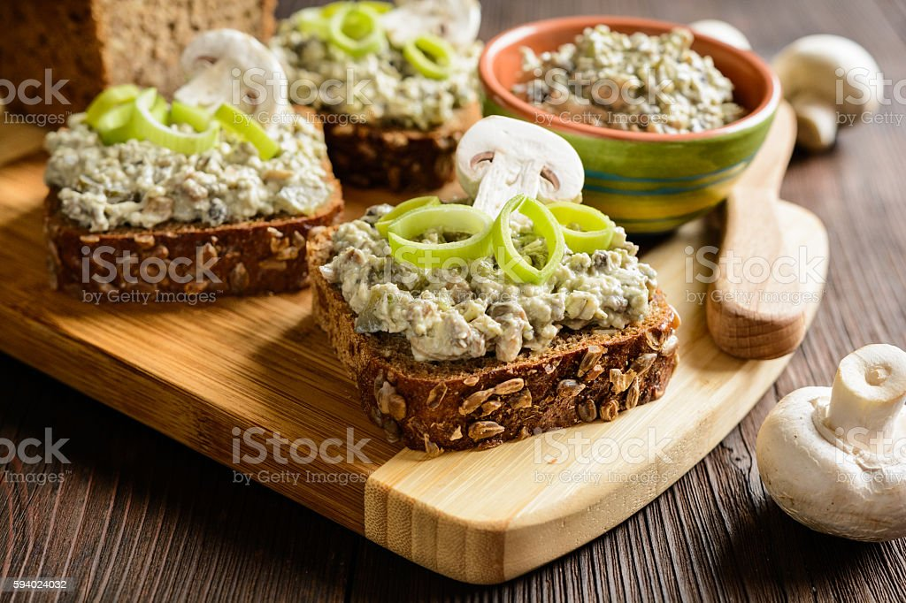 Mushroom spread with Roquefort cheese and leek stock photo