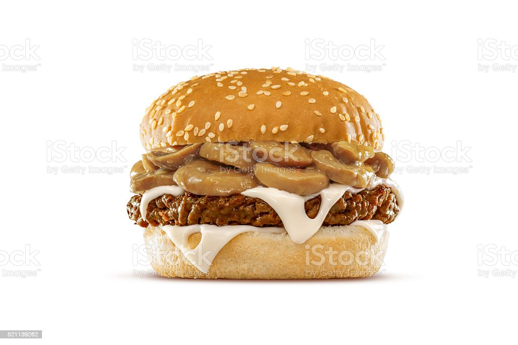 Mushroom Swiss Cheeseburger stock photo