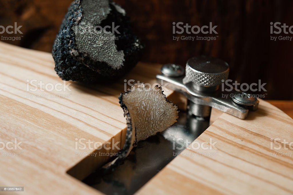 mushroom  truffle and  Truffle Slicer stock photo