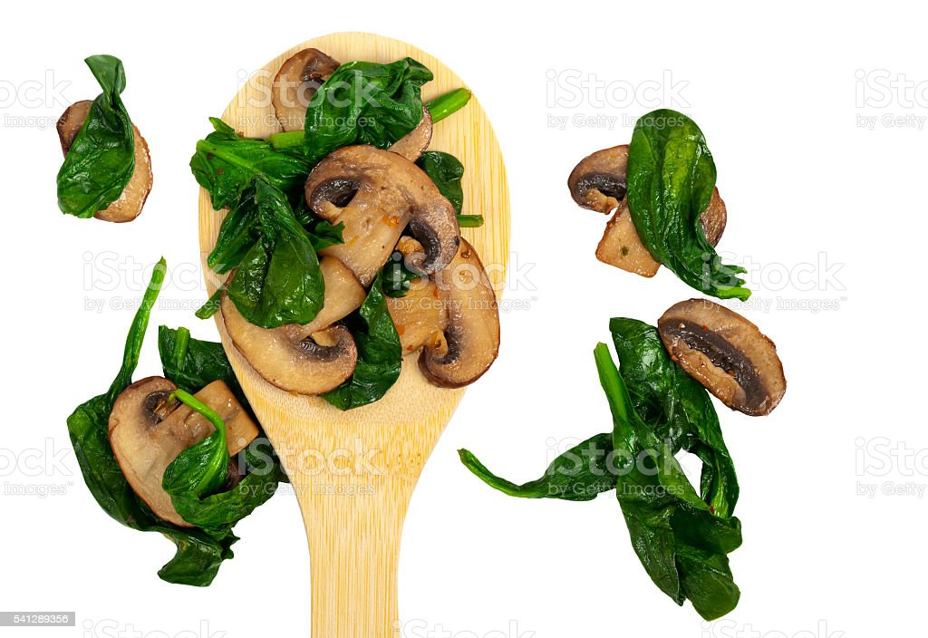 Mushrooms and Spinach Italian Style stock photo