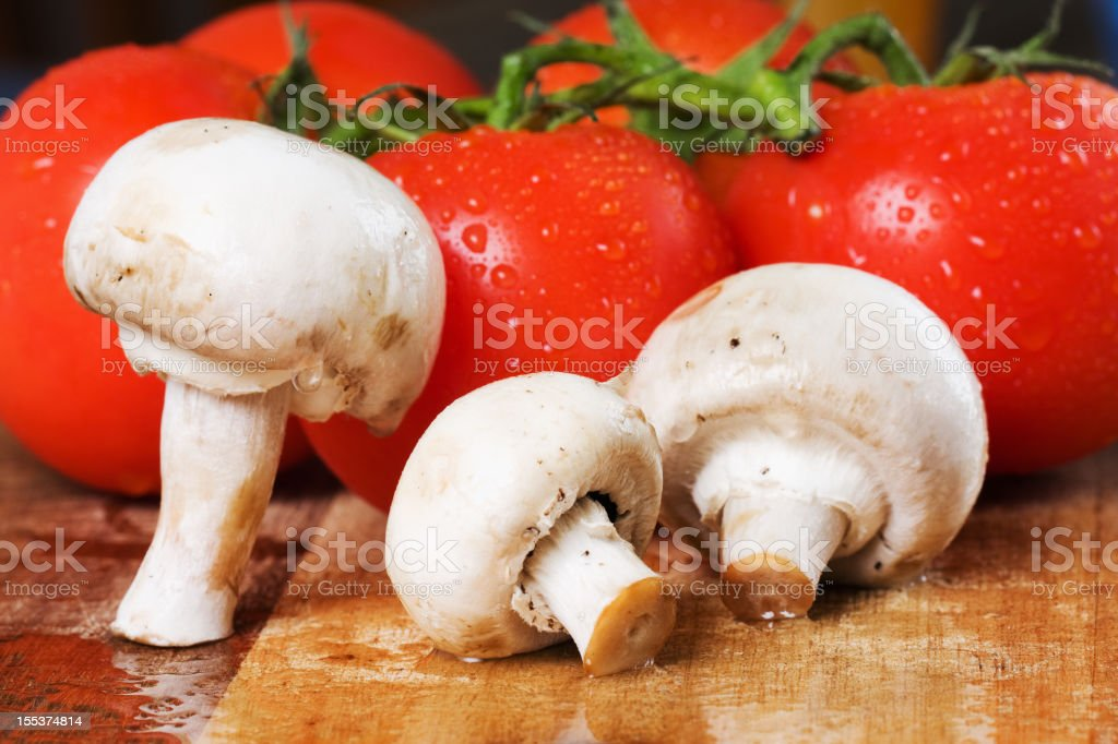 Mushrooms and Tomatoes royalty-free stock photo
