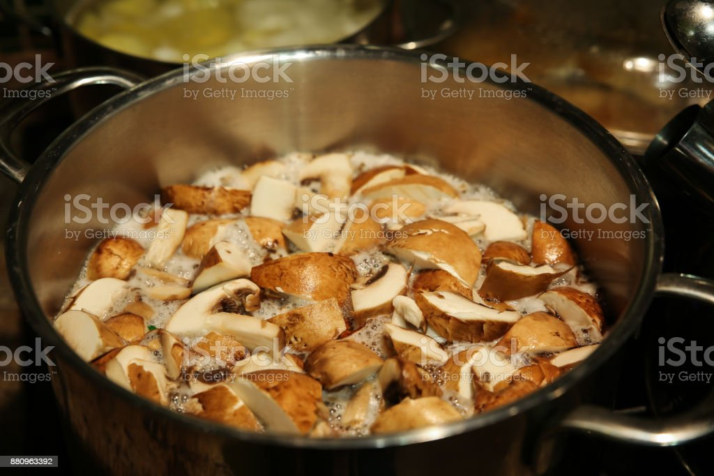 Mushrooms are cooked in a saucepan on the stove stock photo