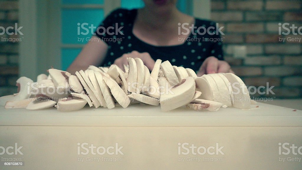 Mushrooms Cleaned and Cut into Small Pieces Bowl stock photo