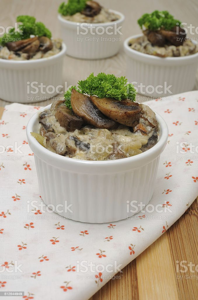Mushrooms in a creamy sauce stock photo