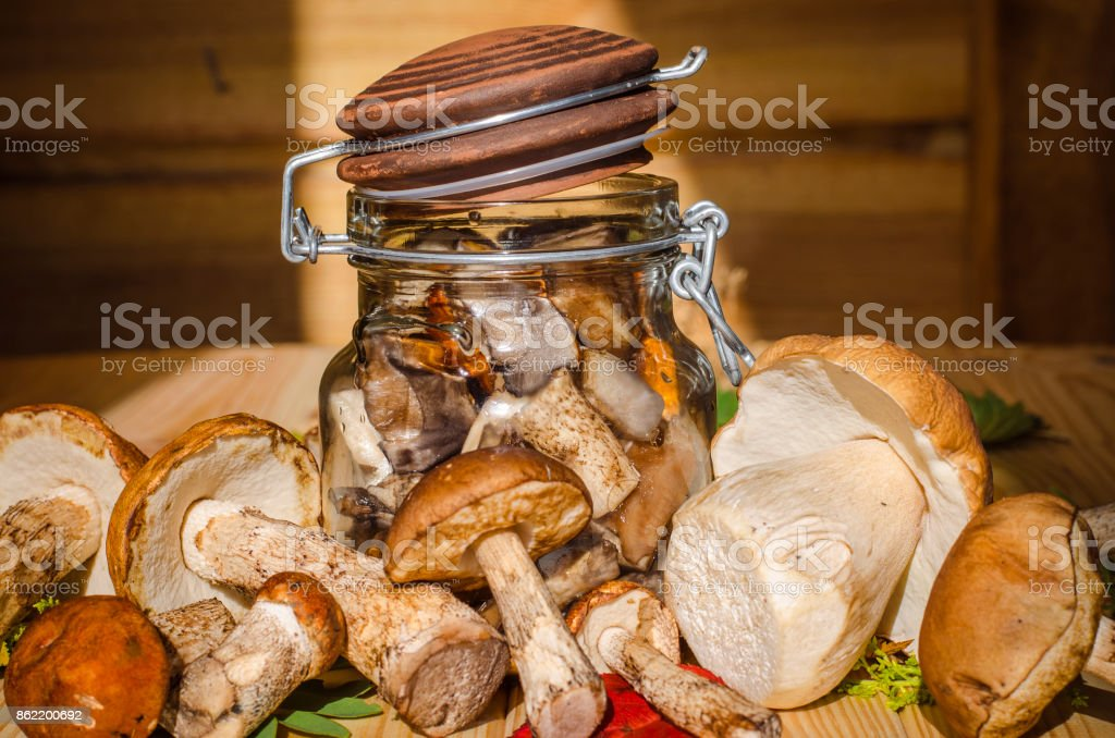 mushrooms in a jar stock photo
