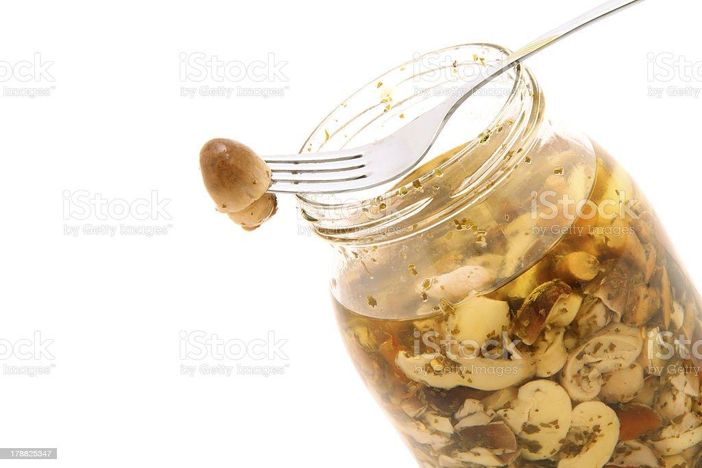 mushrooms in jar royalty-free stock photo