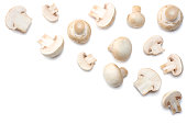 mushrooms isolated on white background. top view