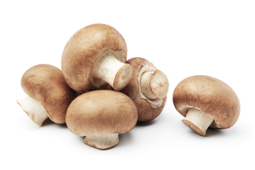 heap of mushrooms isolated on white background