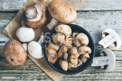 Breakfast Fresh whole button Champignon mushrooms