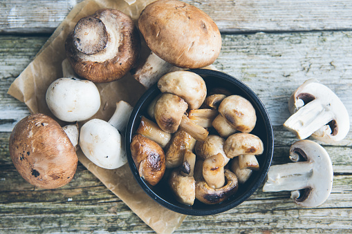 Breakfast Fresh whole button Champignon mushrooms
