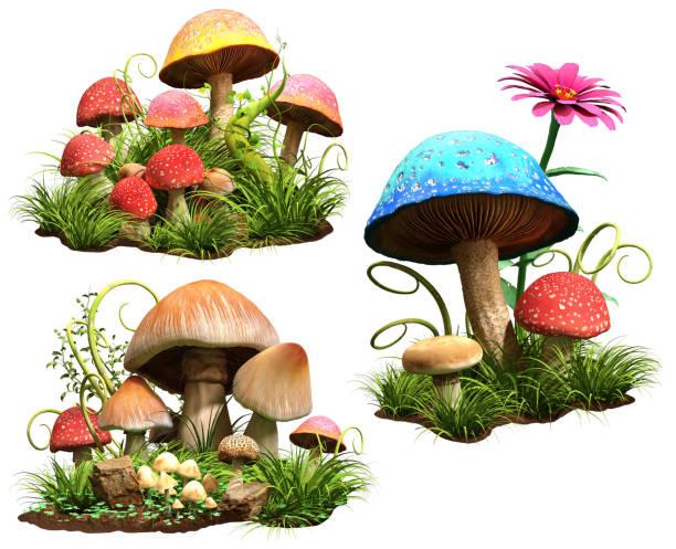 pilze - märchenillustrationen stock-fotos und bilder