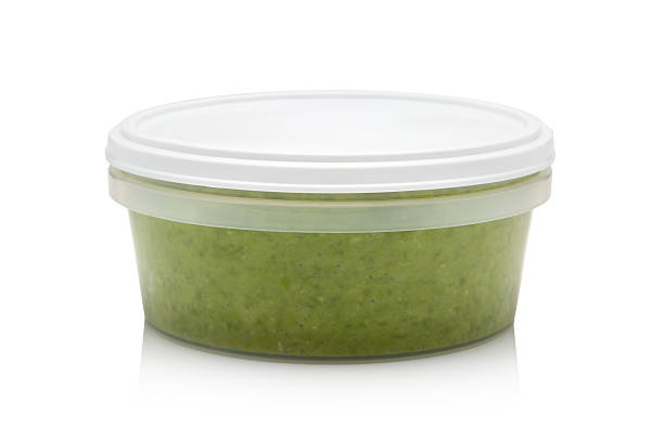 Mushy Peas in container stock photo