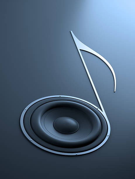 Music abstract - note shaped speaker stock photo