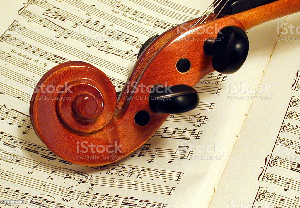 Music and a violin royalty-free stock photo