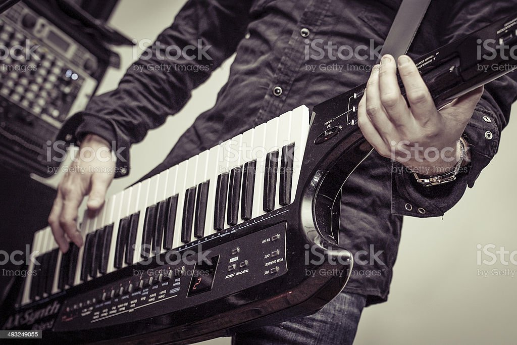 Music and Keytar player stock photo