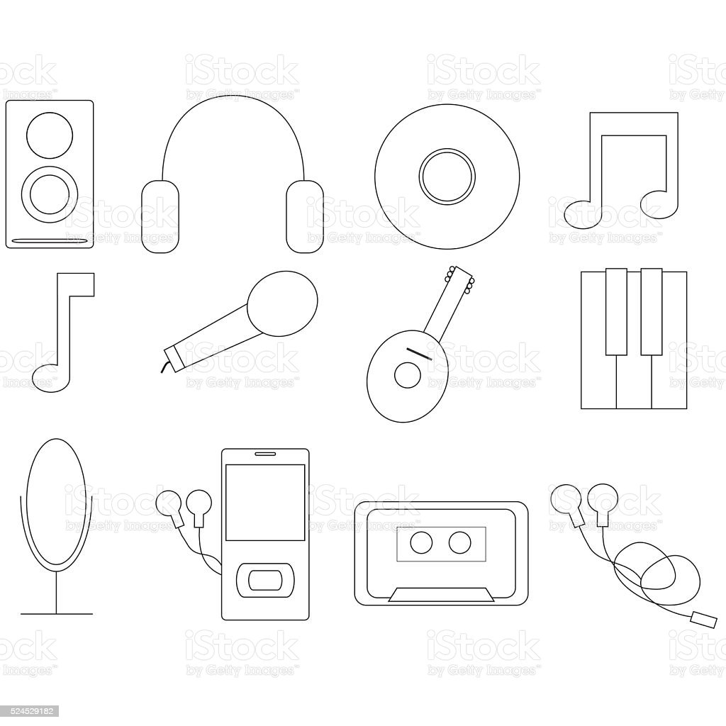 Music and Sound Icons Set stock photo