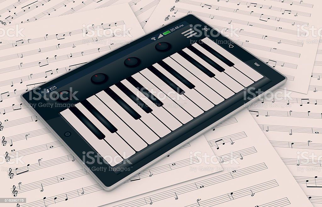 music and technology stock photo