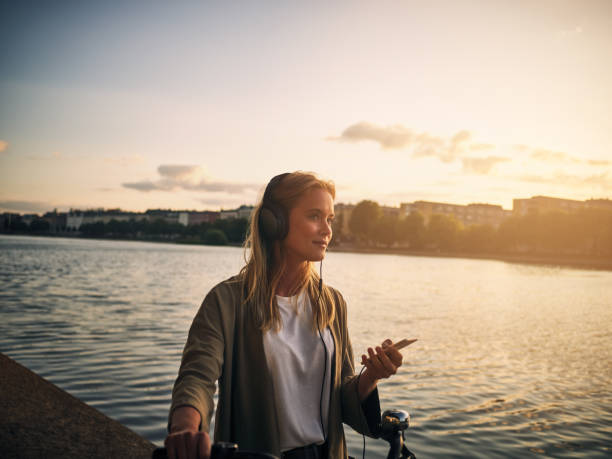 music and this scenery is all she needs - denmark stock photos and pictures