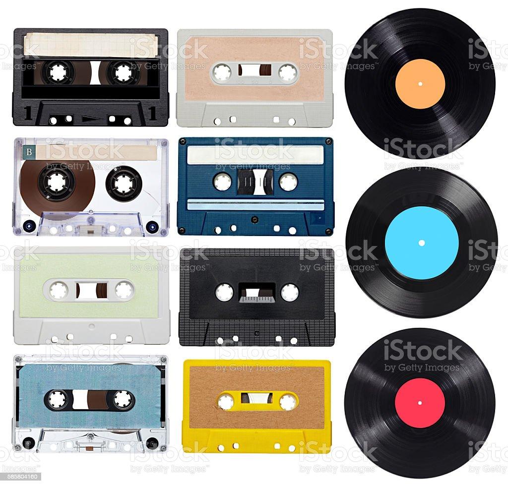 music audio tape vynil vinyl vintage stock photo