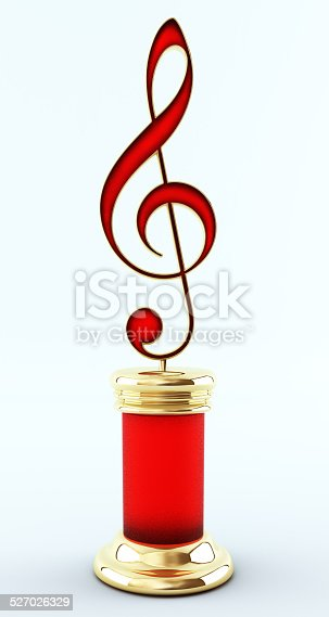 Music Award. Treble clef with ruby inlay